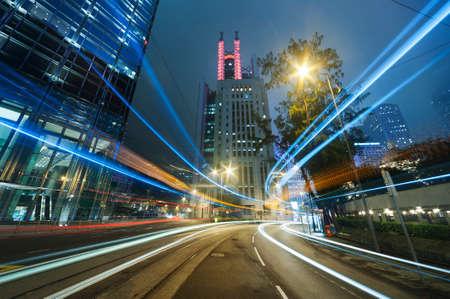 Night traffic in urban city Stock Photo