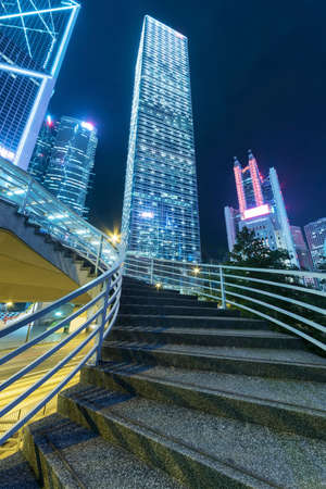 High rise office building in central district of Hong Kong city at night