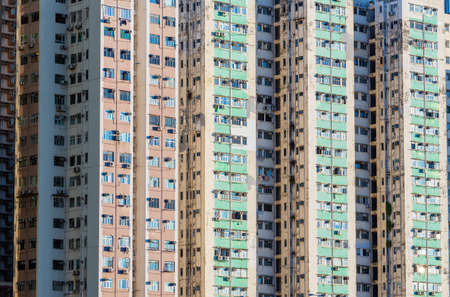 Exterior of old high rise residential building in Hong Kong city