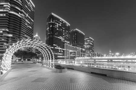 Promenade in public park in midtown of Hong Kong city at night