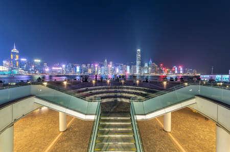 Night scenery of Victoria harbor of Hong Kong city