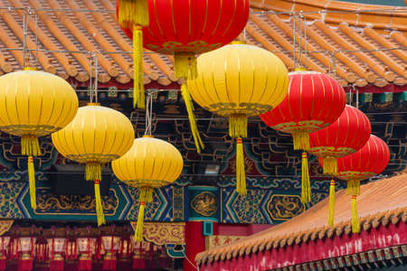 Chinese lantern in Chinese temple in Hong Kong, China