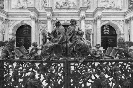 Classic gate of loggetta del campanile di san marco in venice, italy