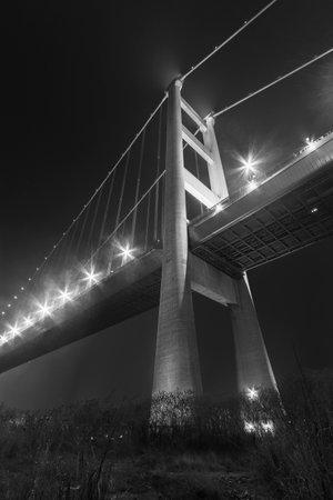 Night scenery of Tsing Ma Bridge in Hong Kong