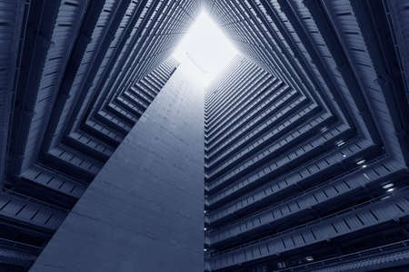 High rise residential building of public estate in Hong Kong city. Building abstract background