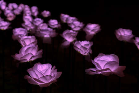 Handmade Flower with LED light at night. Artificial flower made of cloth