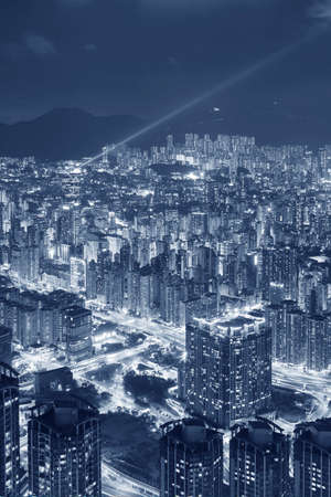 Night scene of aerial view of downtown district of Hong Kong city