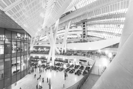 Hong Kong, China - October 05, 2018 : Departure hall of Hong Kong West Kowloon railway station. This is the terminus of the Hong Kong section of the Guangzhou–Shenzhen–Hong Kong Express Rail Link