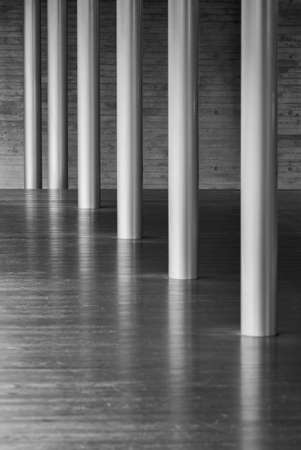 metal column and wooden floor in modern architecture