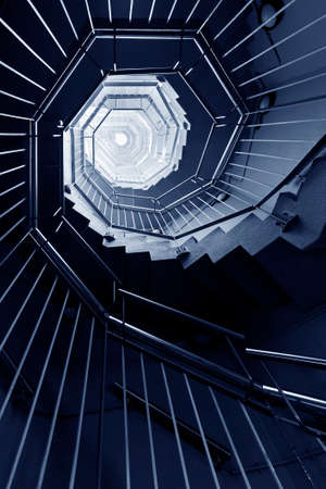 Spiral staircase. Modern Building abstract background