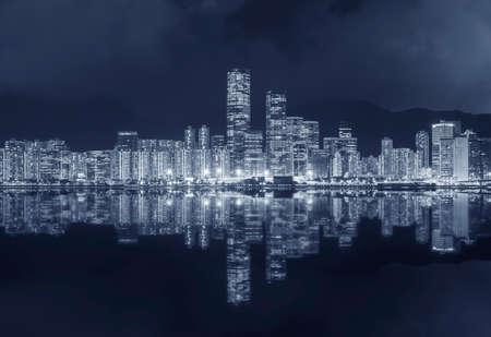 Panorama of downtown of Hong Kong city at night