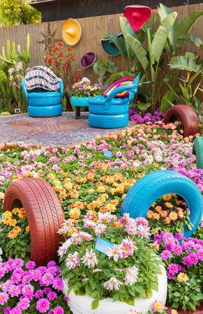 Mexican style backyard flower garden Banco de Imagens