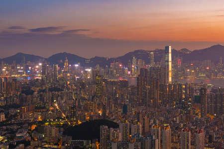 Aerial view of Hong Kong city at dusk