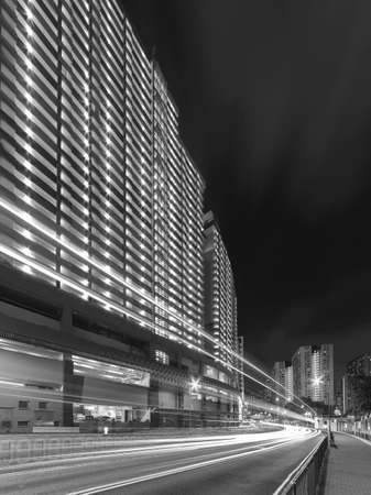 Light trail of  traffic in urban city Фото со стока