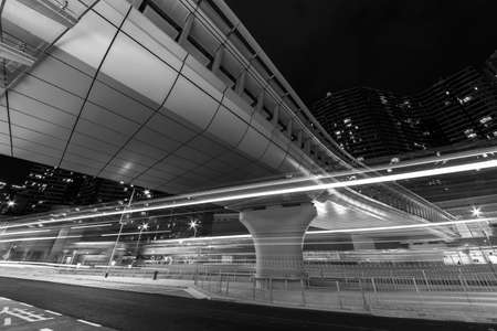 Light trail of traffic in downtown district of Hong Kong city at night 스톡 콘텐츠