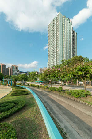 High rise residential building and road in Hong Kong city