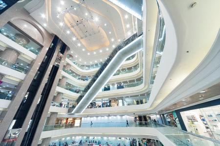 Interior veiw of modern shopping mall in Hong Kong