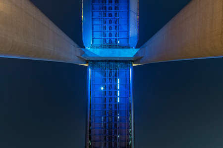 Details of bridge, viewed from bottom. Building abstract background