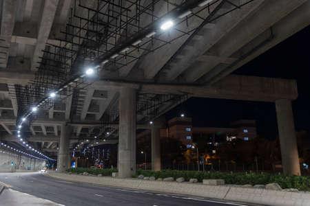 Empty tunnel in the dark. Transportation background 스톡 콘텐츠