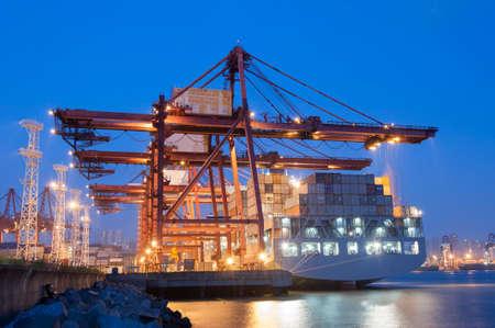 Cargo ship in port of Hong Kong