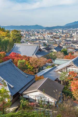 Historical city Kyoto city, Japan in autumn season