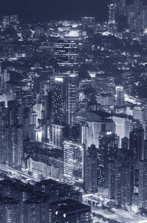 Night scene of aerial view of midtown of Hong Kong City 스톡 콘텐츠