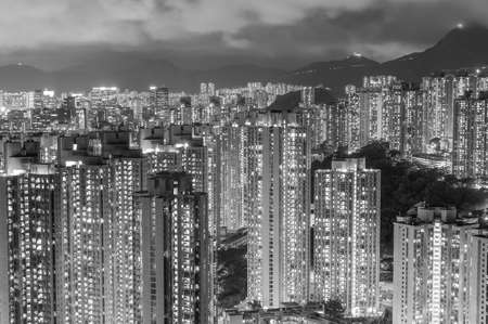 High rise residential building in Hong Kong city at night