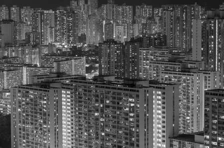 Crowded residential buildings in Hong Kong city at night