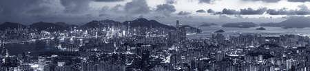 Panorama of aerial view of Hong Kong city at dusk
