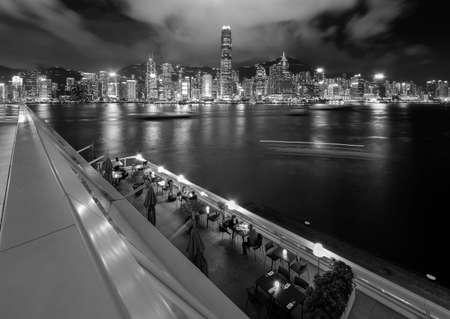 Night scenery of panorama of Victoria Harbor of Hong Kong city