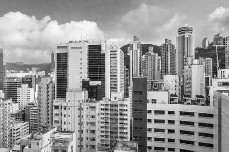 Crowded high rise building in downtown of Hong Kong city 스톡 콘텐츠