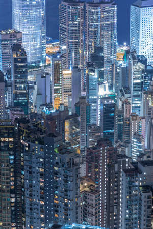 High rise building in Hong Kong city at night