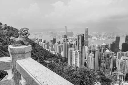 Victoria harbor of Hong Kong city, viewed from the peak