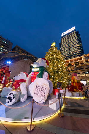Hong Kong, China - December 22, 2020 : Visitor gather at 1881 Heritage or former Marine Police Headquarters market square for Christmas day and Happy New Year.