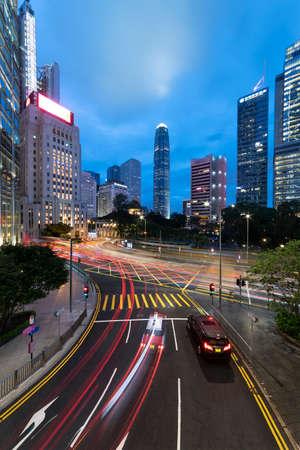 Downtown district of Hong Kong city at dusk