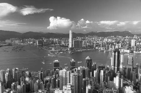 Landscape of Victoria harbor of Hong Kong city
