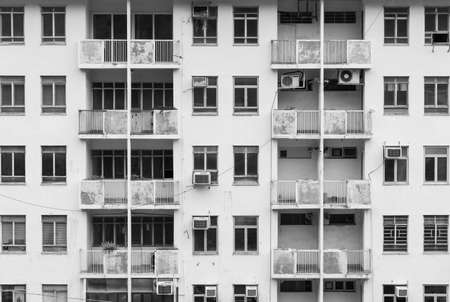 Exterior of abandoned residential building in Hong Kong city