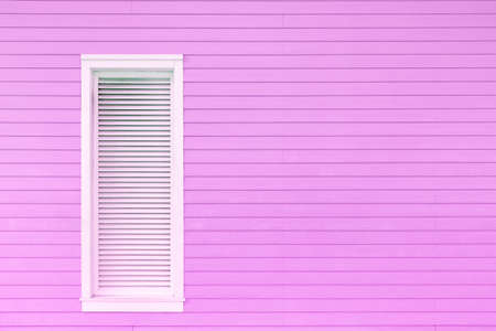 Window on wooden wall. Building abstract background 스톡 콘텐츠
