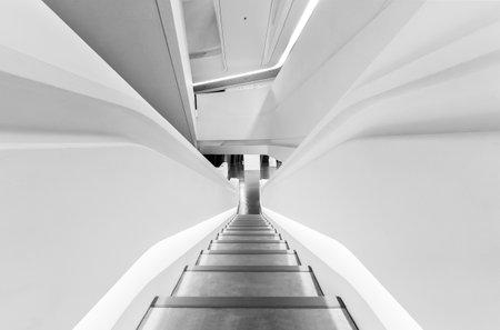 Staircase in futuristic architecture. Modern building interior background