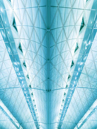Details of ceiling of modern architecture. Building abstract background pattern 스톡 콘텐츠