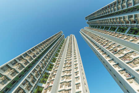 Exterior of high rise residential building of public estate in Hong Kong city