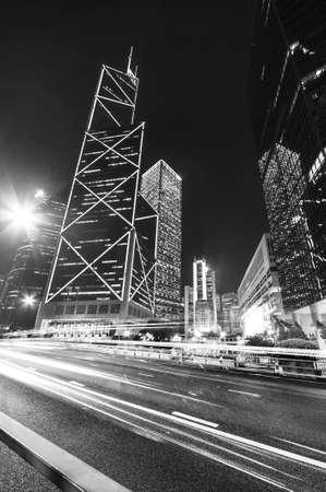 Traffic and skyscraper in Hong Kong City at night