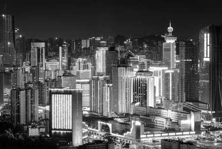 Night scenery of high rise buildings in Shenzhen city, viewed from Hong Kong border 版權商用圖片
