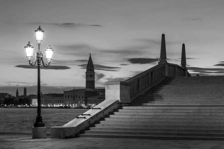 promenade, street light , bridge and canal of Venice, Italy