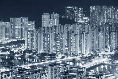 Aerial view of residential district of Hong Kong city at night 版權商用圖片