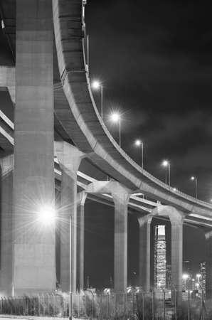 elevated highway and bridge in Hong Kong city at night 版權商用圖片