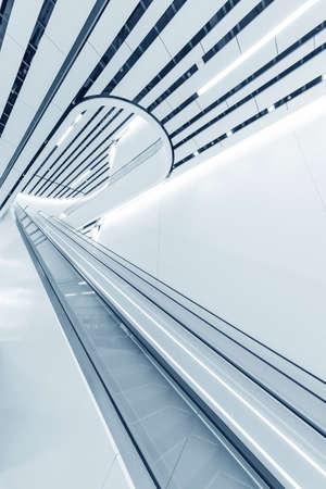 Interior view of escalator in modern architecture