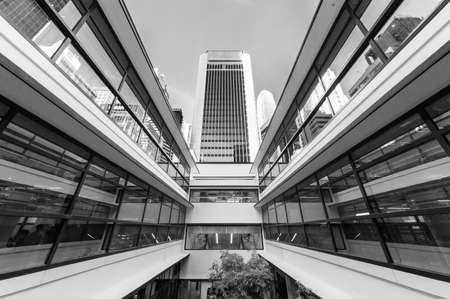 Exterior of modern architecture in downtown district of Hong Kong city 版權商用圖片