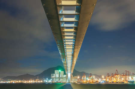 Cutterstone bridge and cargo port in Hong Kong