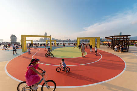 Hong Kong, China - October 02 2021 : East Coast Park Precinct in Fortress Hill is a newly opened urban waterfront park in Hong Kong city Editorial